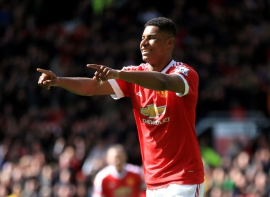 Manchester United's Marcus Rashford celebrates scoring his side's only goal of the game.