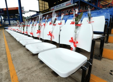 96 blue seats at the Leppings Lane end of Hillsborough are replaced by 96 white seats to represent the victims.