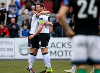 Andy Boyle celebrates the opener.