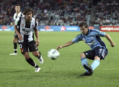 Ribeiro (left) up against former Italy and Sydney FC striker Alessandro Del Piero during his time in the A-League with Newcastle Jets.