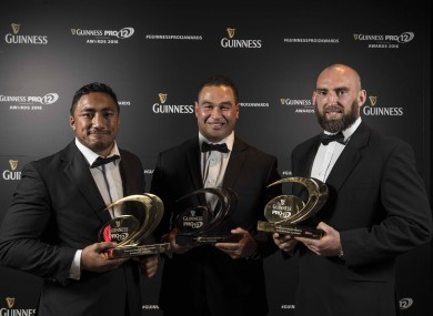 Bundee Aki, Pat Lam and John Muldoon at this evening's Guinness Pro12 awards event in Dublin.