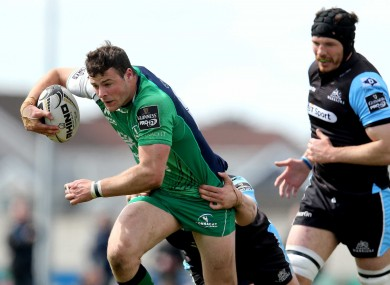 Robbie Henshaw getting his leg drive going on Glasgow's last visit to Galway in April 2015.