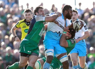 Muldoon (right)  and Connacht team-mate Ronan Loughney tackle Leone Nakarawa of Glasgow during yesterday's win.