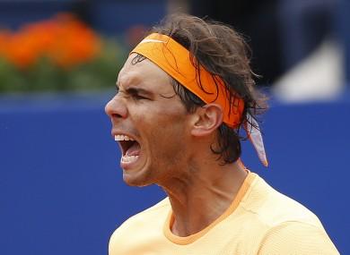 Rafa Nadal earned a comprehensive win over Sam Groth.