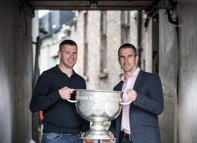 Tomás O Sé and Dessie Dolan with the Sam Maguire in Thurles today.