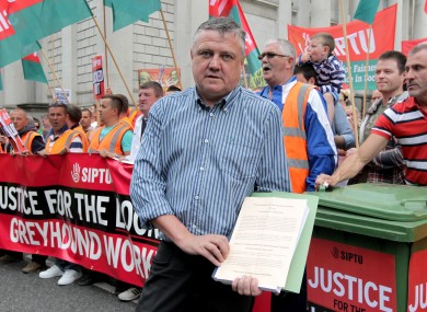 Brendan Carr pictured at A Siptu protest against Greyhound Recycling in 2014