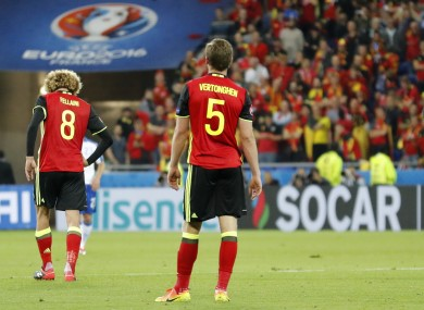 60484d055 Fellaini and Vertonghen looking frustrated after conceding a second goal to  Italy.