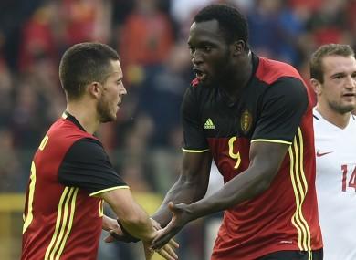 Hazard and Lukaku celebrate.
