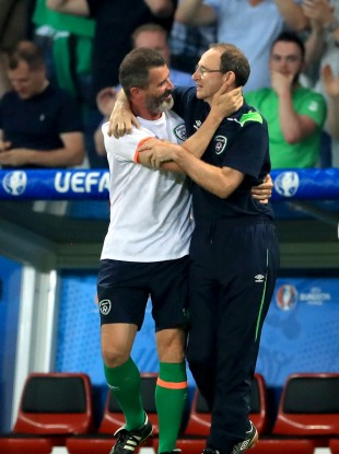 Republic of Ireland manager Martin O'Neill (right) and assistant Roy Keane celebrate qualifying for the round of 16 after the Euro 2016, Group E match at the Stade Pierre Mauroy, Lille.
