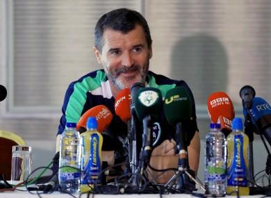 Keane speaking to the media in Cork earlier today.