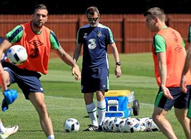 Keane pictured at training with Shane Duffy and Seamus Coleman.