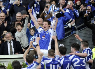 Tadhg Morley lifts the All-Ireland junior football club trophy earlier this year.