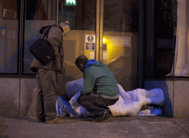 A rough sleeper in Cork