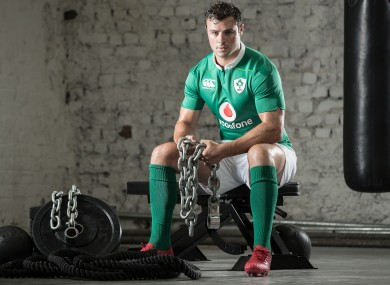 Robbie Henshaw launching the new Ireland jersey.