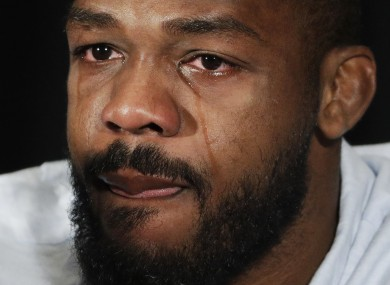 Jon Jones broke down in tears during a press conference yesterday.