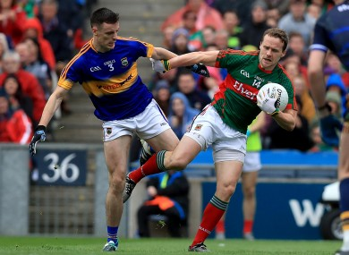Mayo's Andy Moran and Tipperary's Alan Campbell in opposition in Croke Park.