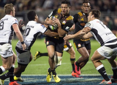 Anton Lienert-Brown on the charge for the Chiefs against the Sharks in a Super Rugby game in April.