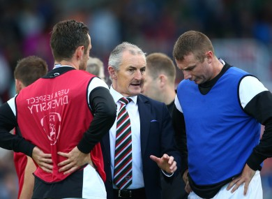 John Caulfield with Cork City defenders Alan Bennett and Kenny Browne before last night's game against Genk.