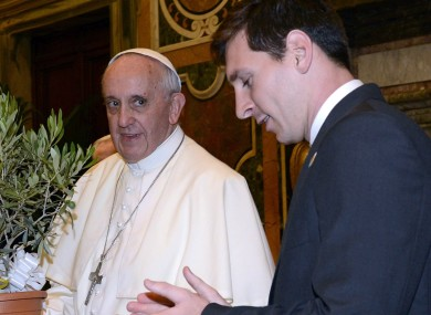 Lionel Messi with Pope Francis.
