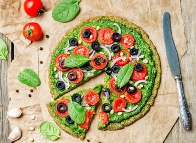 Vegan broccoli zucchini pizza
