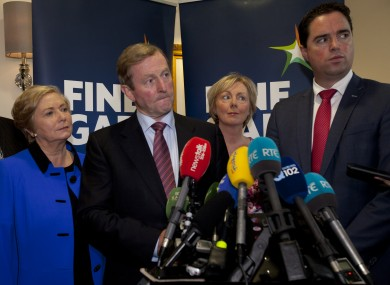 Minister for Justice Frances Fitzgerald, Taoiseach Enda Kenny, Chief Whip Regina Doherty and Martin Hayden, Chairman of the Parliamentary Party