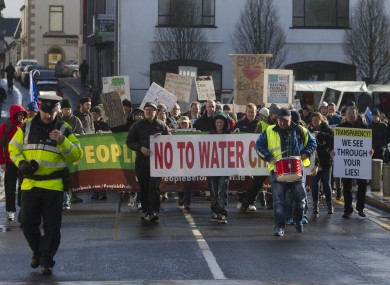 A water charge protest in Castlebar, one of the towns affected by the notice.