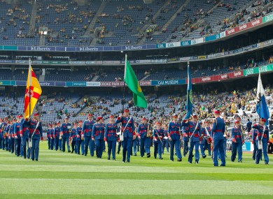 The Artane Band in Croke Park before to All-Ireland football semi-final.