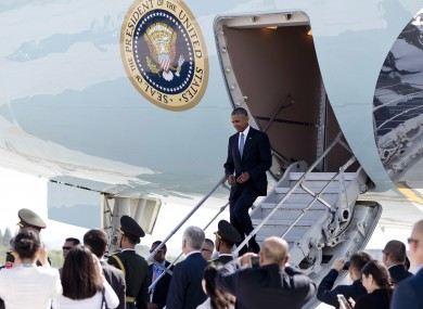 Barack Obama exits using a much smaller exit. from Air Force One.