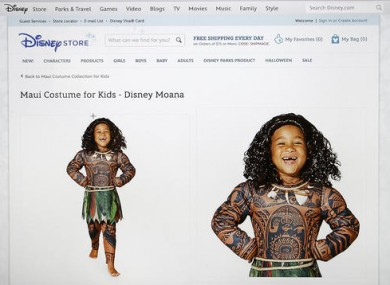This photograph of a computer screen shows the DisneyStore.com website's Maui Halloween costume.