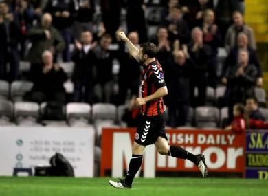 Kurtis Byrne celebrates after scoring his goal.