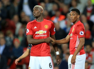 Manchester United's Paul Pogba and Anthony Martial.