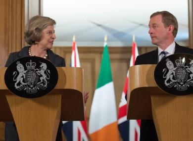 Prime Minister Theresa May and Irish Taoiseach Enda Kenny at 10 Downing Street, London, in July.