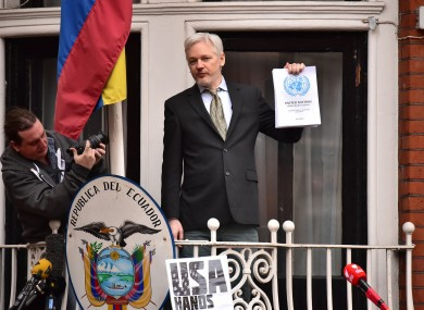Julian Assange on the balcony of the Ecuadorean Embassy earlier this year.