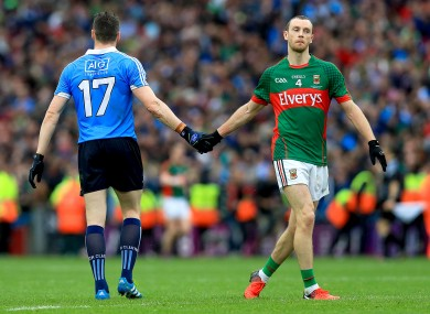 Mayo's Keith Higgins and Dublin's Paddy Andrews after the drawn game