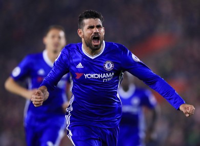 Costa celebrates his goal at St Mary's.