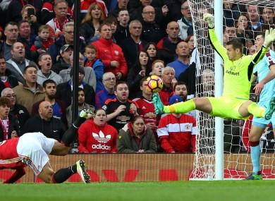 Tom Heaton pulls off a save to deny Zlatan Ibrahimovic