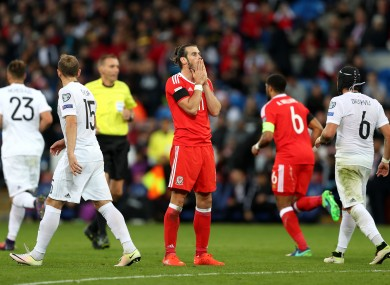 Wales' Gareth Bale rues a missed chance.