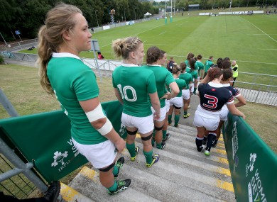 Ashleigh Baxter prepares to follow her Ireland team-mates onto the field in UCD this summer.