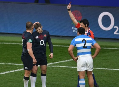 England's Elliot Daly is sent off in the fifth minute