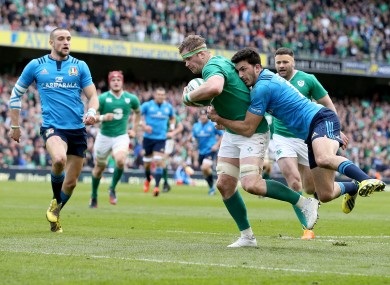 Jamie Heaslip is tackled by Leonardo Sarto in a Six Nations match against Italy in March.