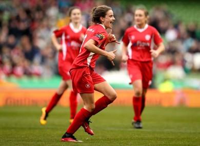 Shelbourne Ladies' Leanne Kiernan celebrates scoring.