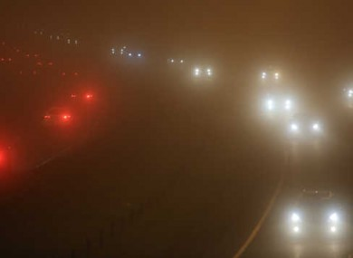 Fog on the M7 near Naas over the weekend.