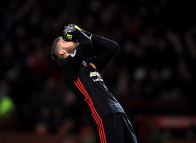 Manchester United goalkeeper David De Gea shows his frustration during today's match.