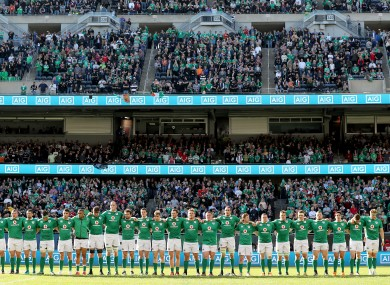 Ireland line out before today's game.