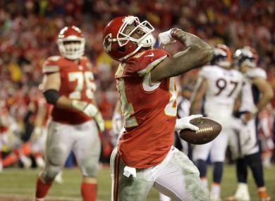 Kansas City Chiefs tight end Demetrius Harris celebrates his touchdown.
