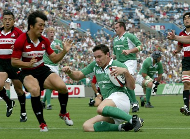 David Wallace scores a try in the second Test match back in 2005.