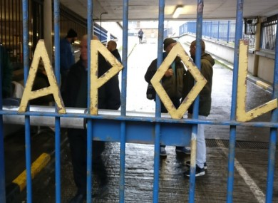 Activists behind the gates at Apollo House.