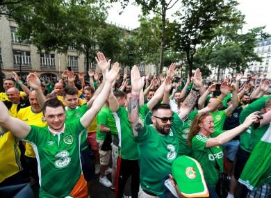 Ireland fans enjoying the atmosphere at Euro 2016.