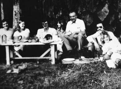 Josef Mengele, third from right, poses for a photo during a picnic with friends in Sao Paulo, Brazil.