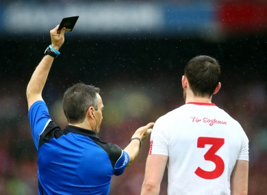 Tyrone's Ronan McNamee was shown a black card in the 2015 All-Ireland semi-final.